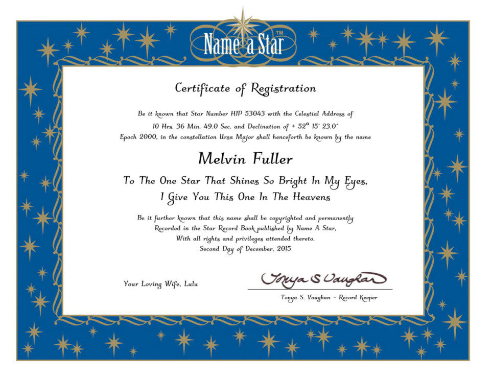 Perfect Image Of Instant Certificate Pertaining To Name A Star Certificate Template