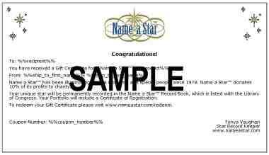 Name a Star Gift Certificate
