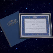Image of the Deluxe Memorial Star Framed Certificate Package